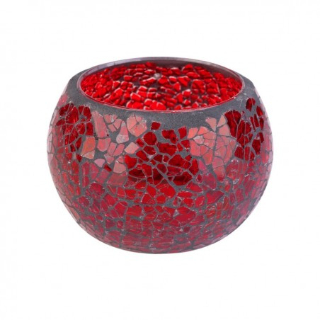 Tealight Candle holders Handmade Glass Mosaic Design (Red)