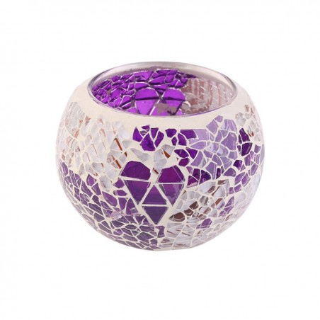 Tealight Candle holders Handmade Glass Round Candle Lantern (Purple)