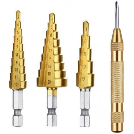 3 pcs HSS Titanium Step Drill Bit Set  1 pcs Automatic Center Punch