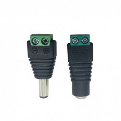 55mm  21mm Female Male DC Power Plug Adapter for 5050 3528 5060 Single Color LED Strip and CCTV C