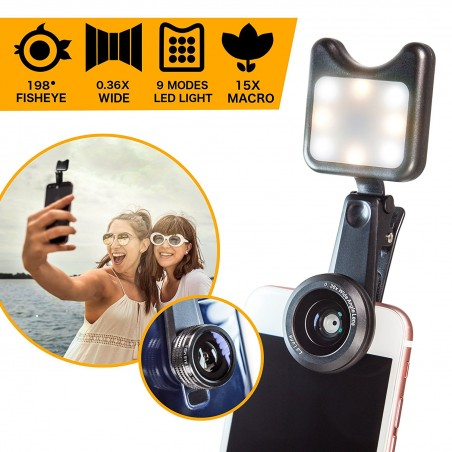 Cell Phone Camera Lens Kit with Clip-On LED Selfie Light