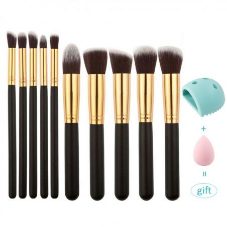 Professional Makeup Brushes Set 10pcs Black Gold