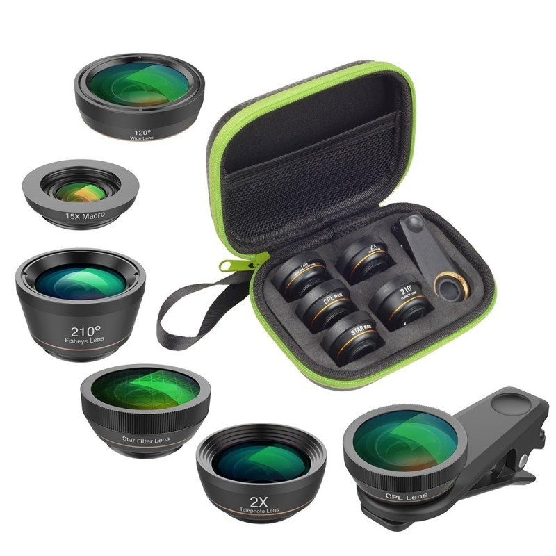 Universal 6 in 1 Phone Camera Fish Eye Lens Wide Angle Macro Lens CPL / Star Filter 2X tele for almost all smartphones.