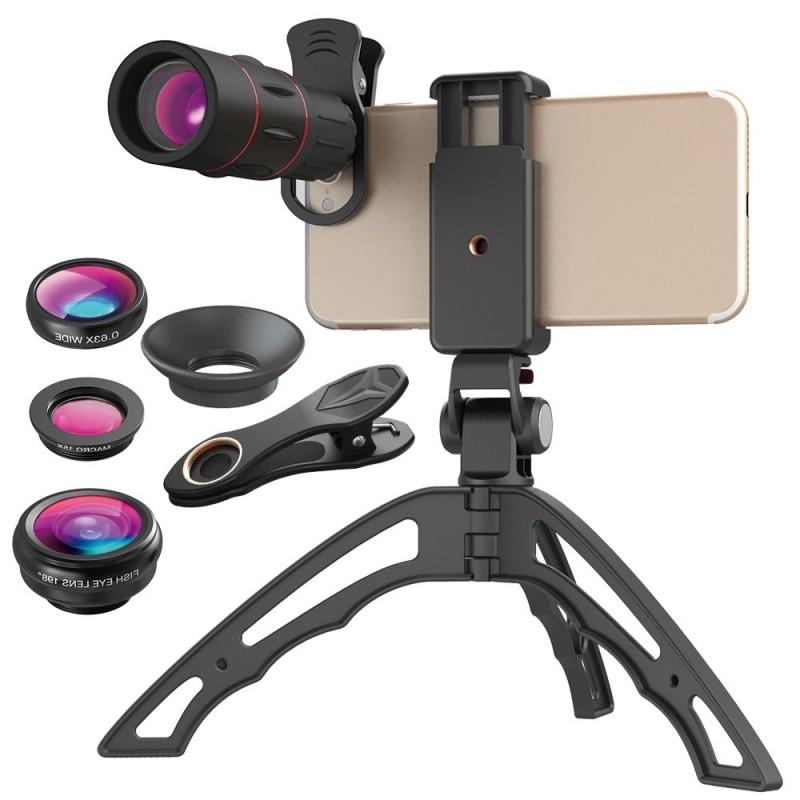 Universal 18X Telescope Mobile Phone Lens Monocular lens with 3 in 1 fisheye wide macro lens+mini tripod for iPhone xiaomi .