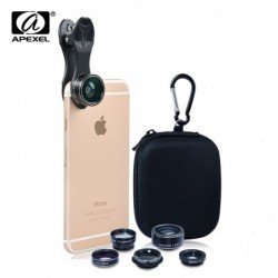 APEXEL HD Camera Lens Kit 5 in 1 for iPhone 6/6s 6/6s Plus SE Samsung Galaxy S7/S7 Edge S6/S6 Edge and Other Android Smart Phone.