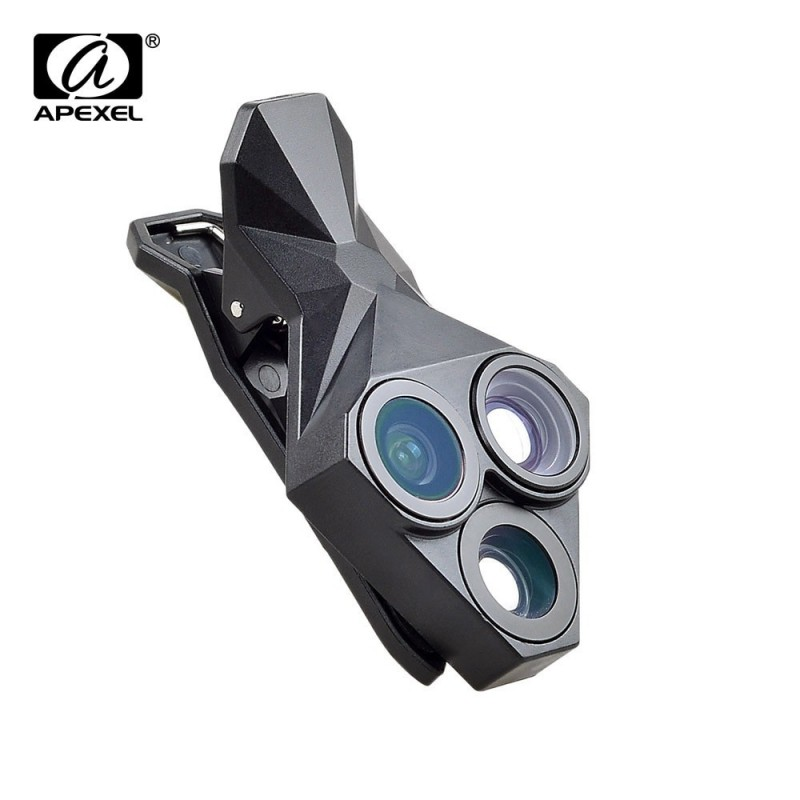 APEXEL arrival Camera Lens Kit 3 in 1 Fisheye Lens Wide Angle Macro mobile phone Lens Kit for iPhone Android Xiaomi APL-YT3.